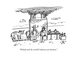 """Nobody said the cowbell industry was humane"" - New Yorker Cartoon"