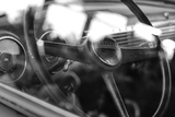 Old Chevrolet Truck's Steering Wheel in Black and White