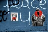 Marilyn Monroe and Biggie Graffiti on Blue Brick Wall in Brooklyn NY