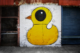 Yellow Duck on Brick Wall in Brooklyn NY