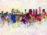 Lisbon Skyline in Watercolor Background