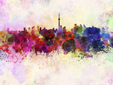 Toronto Skyline in Watercolor Background