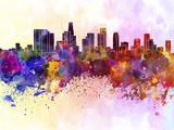 Los Angeles Skyline in Watercolor Background Reproduction d'art par Paulrommer