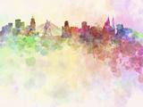 Sao Paulo Skyline in Watercolor Background Reproduction d'art par Paulrommer