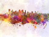 Calgary Skyline in Watercolor Background