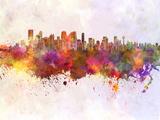 Calgary Skyline in Watercolor Background Reproduction d'art par Paulrommer