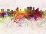 Atlanta Skyline in Watercolor Background Reproduction d'art par Paulrommer