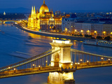 Budapest  Hungary Chain Bridge and the Parliament