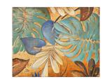 Gold and Aqua Leaves I Giclée premium par Patricia Pinto