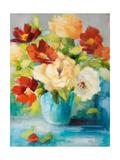 Flowers in Teal Vase 1 Giclée premium par Lanie Loreth