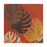 My Fashion Leaves on Red II Giclée premium par Patricia Pinto