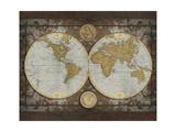 Carte du monde Giclée premium par Elizabeth Medley