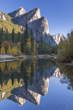 The Three Brothers Reflected in the Merced River at Dawn  Yosemite Valley  California