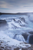 Thundering Gullfoss Waterfall in Winter Time  Iceland  Europe Winter (January)