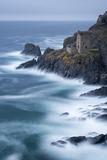 Abandoned Ruin of Tin Mine Engine House on the Cornish Cliffs Near Botallack  Cornwall  England