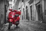 Italy  Lazio  Rome  Trastevere  Red Vespa