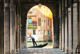 Italy  Veneto  Venice Gondola Passing on Grand Canal Seen from a Colonnade