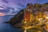 Dusk View of the Colorful Sea Village of Riomaggiore  Cinque Terre  Liguria  Italy