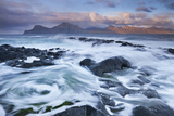 Surging Waves Break over the Rocky Shores at Gjogv on the Island of Eysturoy  Faroe Islands Spring