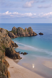 Pednvounder Beach and Logan Rock from the Clifftops Near Treen  Porthcurno  Cornwall