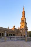 Spain  Andalusia  Seville Plaza De Espana at Sunset