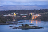 Menai Bridge Spanning the Menai Strait  Backed by the Mountains of Snowdonia National Park  Wales
