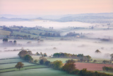 Mist Covered Countryside at Dawn Near Pennorth  Brecon Beacons National Park  Powys  Wales Spring