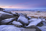 Frost Covered Granite Boulders at Great Staple Tor in Dartmoor National Park  Devon  England