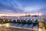 Italy  Veneto  Venice Row of Gondolas Moored at Sunrise on Riva Degli Schiavoni