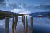 Wooden Jetty and Yacht on Derwent Water Near Lodore  Lake District  Cumbria