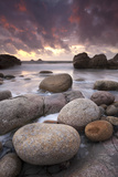 Sunset over the Atlantic from the Shores of Porth Nanven  Cornwall  England Autumn