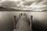 Wooden Jetty on Derwent Water in the Lake District  Cumbria  England Autumn