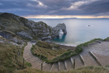 Winding Coastpath Steps Leading Down to Durdle Door on the Jurassic Coast  Dorset  England