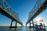 Louisiana  New Orleans  Twin Cantilever Bridges  Mississippi River  Tugboat