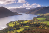 Ullswater from Gowbarrow Fell  Lake District National Park  Cumbria  England Autumn