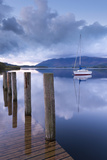 Yacht Moored Near Lodore Boat Launch on Derwent Water  Lake District  Cumbria