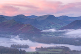 Misty Sunrise over Derwent Water and the Newlands Valley  Lake District  Cumbria