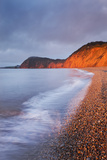 Burning Red Cliffs at Sidmouth on the Jurassic Coast  Devon  England Winter