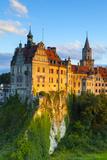 Elevated View Towards Sigmaringen Castle Illuminated at Sunset
