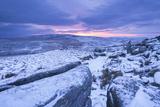 Sunrise Above a Snow Covered Moorland  Belstone Tor  Dartmoor National Park  Devon  England Winter
