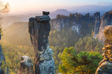 The Bastei in the Background  Elbe Sandstone Mountains  Saxon Switzerland  Germany