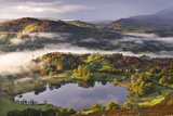 Loughrigg Tarn Surrounded by Misty Autumnal Countryside  Lake District  Cumbria
