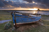 Decaying Fishing Boat on Holy Island at Dawn  with Lindisfarne Castle Beyond  Northumberland
