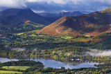 Mountains and Woodland Form a Backdrop to Derwent Water in the Lake District  Cumbria  England