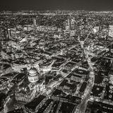 Night Aerial View of St Paul's and City of London  London  England