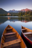 Wooden Boats on Strbske Pleso Lake in the Tatra Mountains of Slovakia  Europe Autumn
