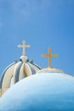 Church Domes in Firostefani, Santorini (Thira), Greece Papier Photo par Nadia Isakova