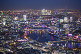 Night Aerial View over River Thames  City of London  the Shard and Canary Wharf  London  England