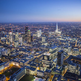 Night Aerial View of the Shard and City of London  London  England
