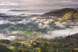 Morning Mist Float Above Countryside Near the River Brathay  Lake District National Park  Cumbria